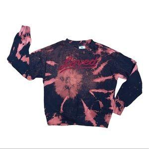 Sundry Bleach Dyed Crewneck Loved Sweatshirt Sz 1